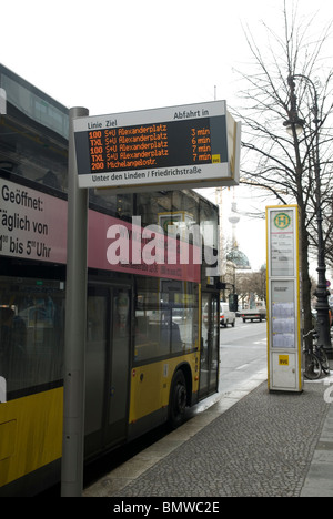 germany europe bus stop sign with information stock. Black Bedroom Furniture Sets. Home Design Ideas