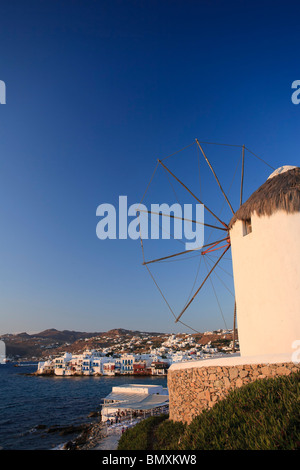 Greece, Cyclades, Mykonos, Mykonos Town, Old Windmills - Stock Photo