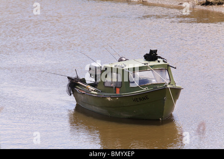 One small fishing boat on rough sea in italy stock photo for Small fishing boats with motor