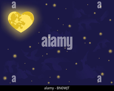 moon on night sky. vector backgrounds - Stock Photo