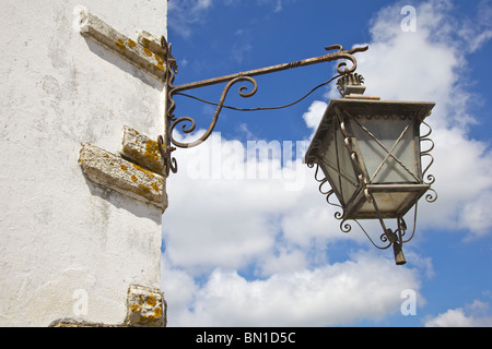 Black Wroght Iron Street lam of Old World Europe and Blue Sky - Stock Photo