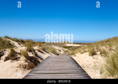 Wooden path across dunes near Norddorf, Amrum Island, Germany - Stock Photo