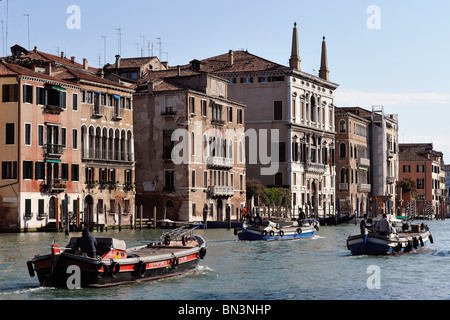Boats on Canal Grande, Venice, Italy, Europe - Stock Photo