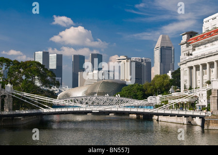 Cavenagh Bridge and Central Business District Singapore - Stock Photo