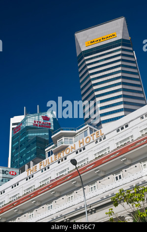 Fullerton Hotel and Maybank Tower Singapore - Stock Photo