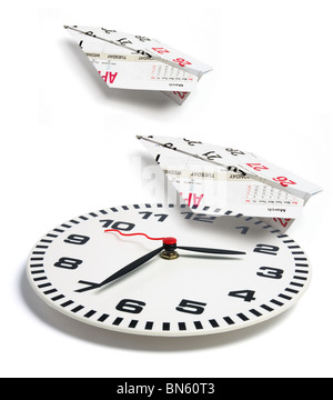 Clock and Paper Planes - Stock Photo