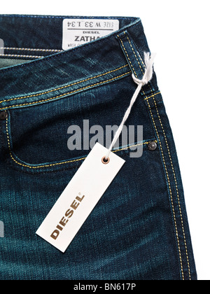 Label on dark blue Diesel jeans isolated on white background - Stock Photo