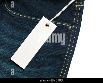 White blank lable on jeans - Stock Photo