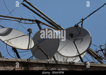 Satellite dishes over residential houses in the Muslim Quarter in the old city East Jerusalem Israel - Stock Photo