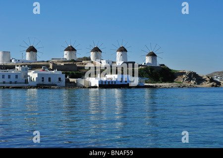 Mykonos. Greece. Windmills. - Stock Photo