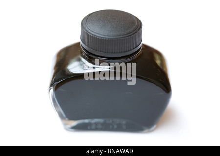 fountain pen ink bottle with white background - Stock Photo