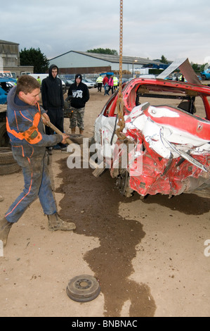banger racing cars in action at stansted raceway in essex. Black Bedroom Furniture Sets. Home Design Ideas