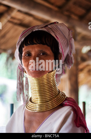 Woman from the Padaung long neck hill tribe, Tha Ton, Chiang Mai Province, Thailand - Stock Photo