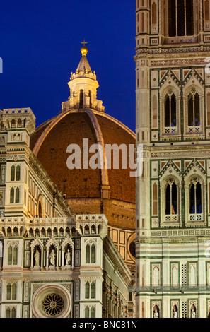 Dusk at the Duomo, Santa Maria del Fiore in Florence Tuscany Italy - Stock Photo