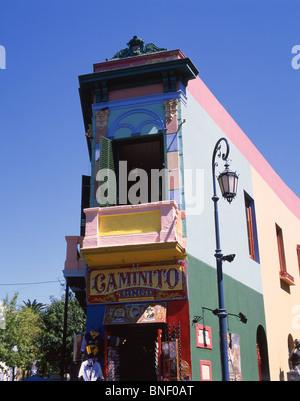 Pastel-coloured buildings, Caminito Street, La Boca, Buenos Aires, Argentina - Stock Photo