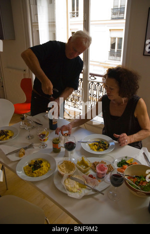 Australian family preparing to have a dinner in Paris France Europe - Stock Photo