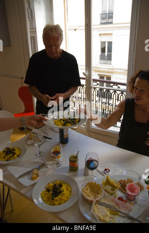 Australian family preparing to have a meal in Paris France Europe - Stock Photo