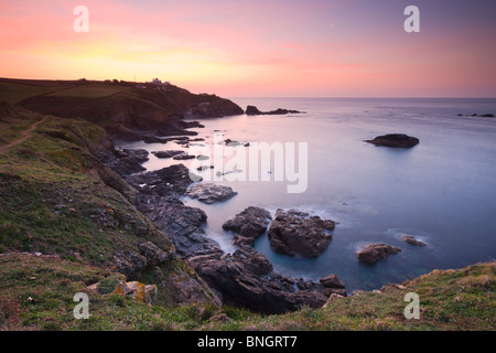 Lizard Point and Polpeor Cove at dawn, Lizard Peninsula, Cornwall, England. Spring (April) 2010 - Stock Photo