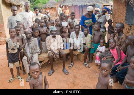 The chief and people of Bouchipe, a village in the Gonja Triangle, Damango district, Ghana. - Stock Photo