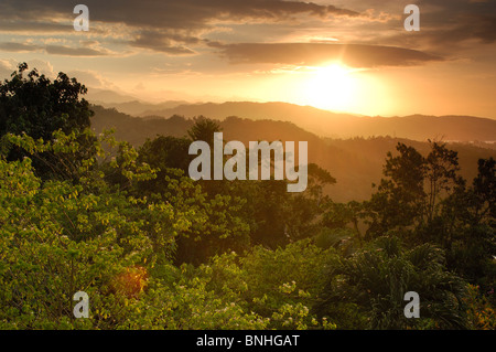 Caribbean Port Antonio Jamaica Blue Mountains Seen From Mockingbird Hill Hotel North Coast Nature Landscape Scenic - Stock Photo