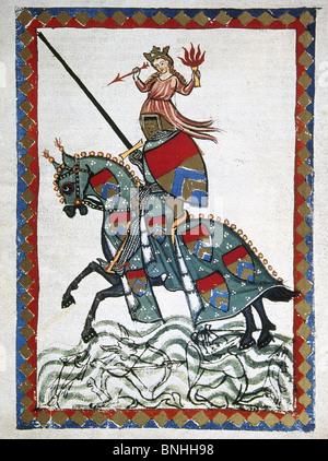 Ulrich von Liechtenstein (1200–1278) , medieval nobleman, knight, politician, and minnesanger. Ulrich on a trip. - Stock Photo