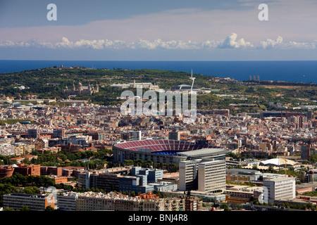 Spain Barcelona town city camp Nou Montjuich mountain stadium overview - Stock Photo
