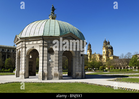 Pavilion Hofgarten Theatinerkirche Munich Bavaria Germany Old Town architecture more baroque blue sky Europe garden - Stock Photo