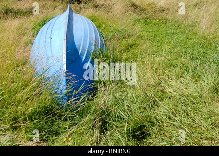 BLUE BOAT IN GRASS - Stock Photo
