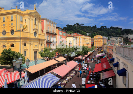 Flower market in old town, Vielle Ville, part of Nice on the French riviera - Stock Photo