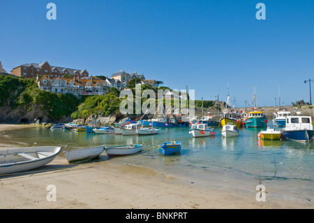 Fishing boats, boats and yachts in harbour Newquay Cornwall England - Stock Photo