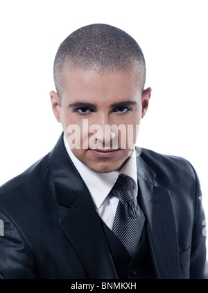caucasian man serious businessman portrait isolated studio on white background - Stockfoto