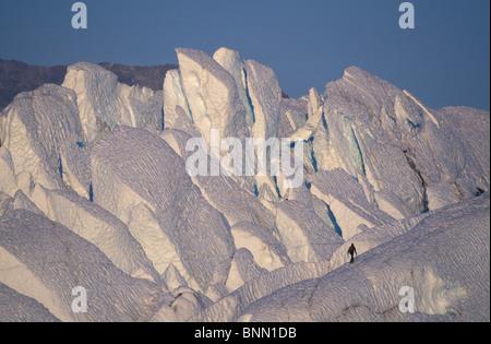 Climber Walking on Ridge Matanuska Glacier Alaska - Stock Photo