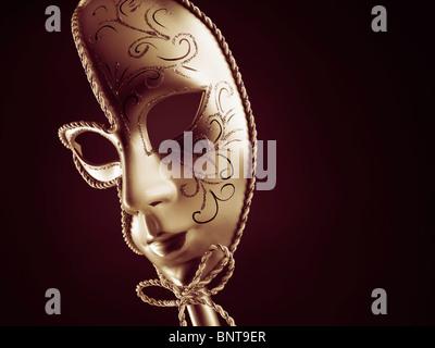 Beautiful silver Venetian mask isolated on black background - Stock Photo