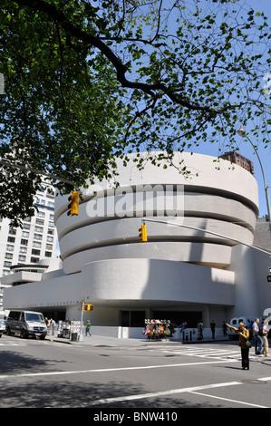 Exterior of Guggenheim museum New York City - Stock Photo