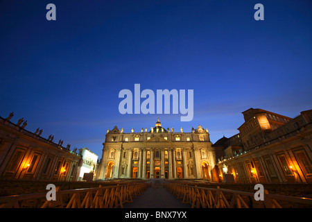 Maderno's façade of St. Peter's Basilica, Rome, Italy - Stock Photo