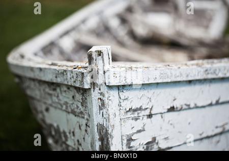 Old abandoned wooden boat, Hecla Island, Manitoba, Canada. - Stock Photo