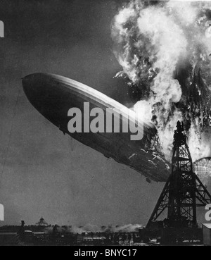 LZ 129 HINDENBURG German commercial  airship catches fire while mooring at  Lakehurst Naval Station, New Jersey - Stock Photo