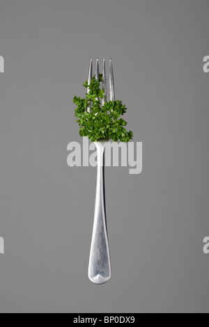 Fork with parsley - Stock Photo