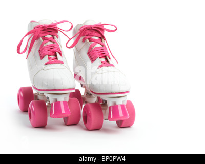 White with pink classic roller girl derby skates isolated on white background - Stockfoto