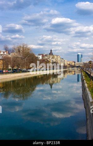Bucharest - view over Dambovita river in a clear spring day - Stock Photo