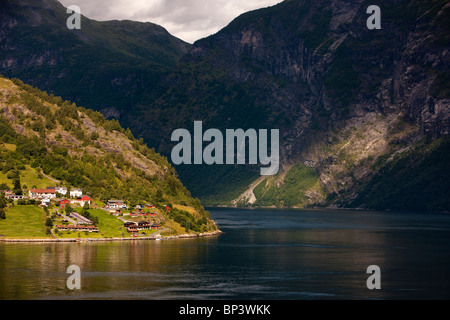 Norway Geiranger Geirangerfjord fjord sunlight - Stock Photo