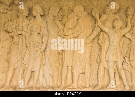Sandstone sculpture carving marking the 2nd World War massacre at Lidice near Prague Czech Republic Europe - Stock Photo