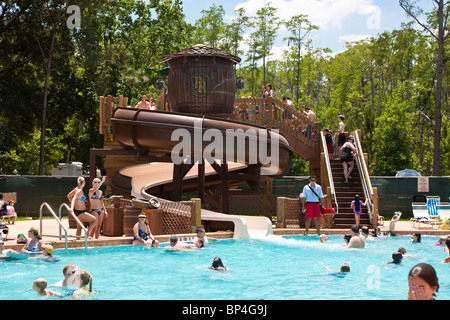 swimming pool with slide, fl stock photo, royalty free