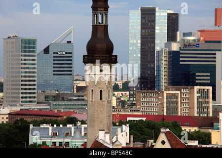 Estonia, Tallinn, Town Hall Tower, skyline, modern architecture, - Stock Photo