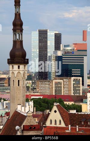 Estonia, Tallinn, Town Hall Tower, skyline, modern architecture, - Stock Photo