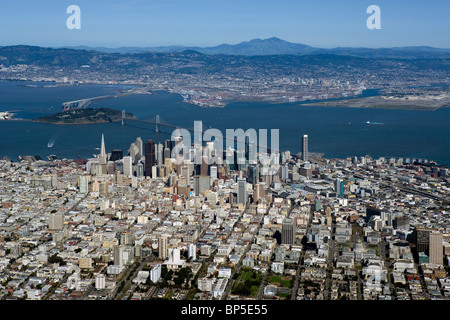 aerial view above San Francisco toward Bay Bridge Oakland Mount Diablo California - Stock Photo