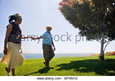 Senior couple holding hands on grass near ocean - Stock Photo