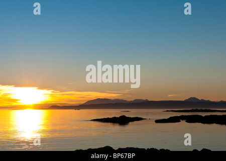 Sunset over the point of Sleat on the Isle of Skye - Stock Photo