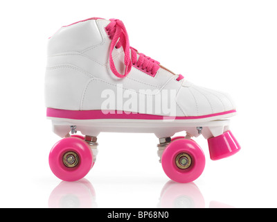 White with pink classic roller girl derby skate isolated on white background - Stockfoto
