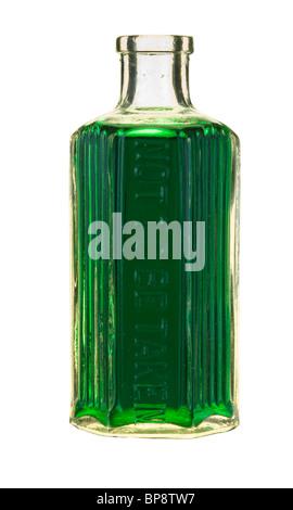 Bottle of green liquid - not to be taken. - Stock Photo